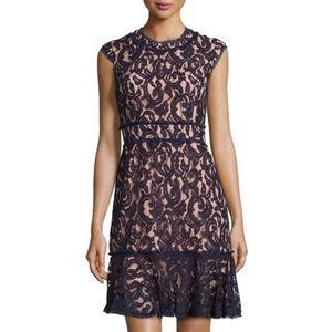 Nanette Lepore 6 Lace Floral Dress Navy Blue